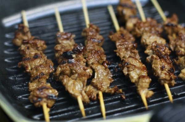 Chinese bbq steak cooked on a barbecue grill