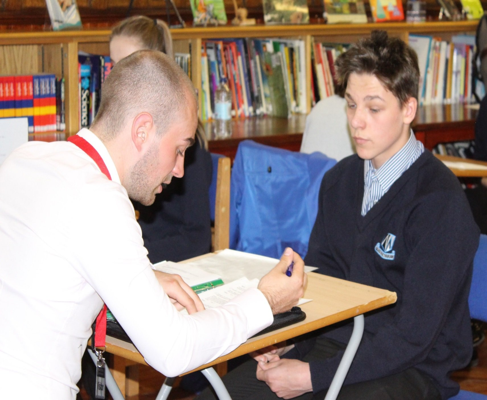 Our business development manager interviewing a school pupil