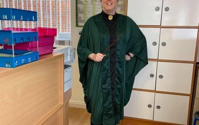 Keeley our finance and administration manager in Harry Potter fancy dress
